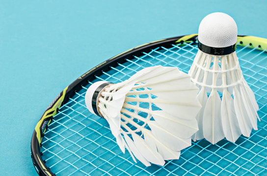 Close up shuttlecock and badminton racket.