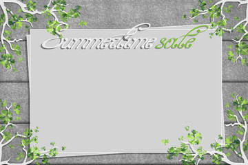 Relief board with photo and place for inscription. Inspiration board. Mockup with trees and green twigs. Vector, EPS 10