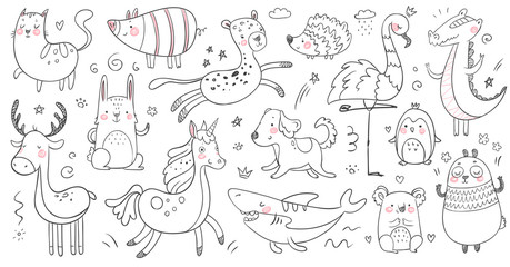 Doodle animals. Sketch animal, hand drawn decoration panda and adorable crocodile. Cute shark, cat and friendship leopard vector set