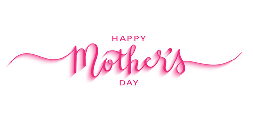 HAPPY MOTHER'S DAY pink 3D relief brush calligraphy banner