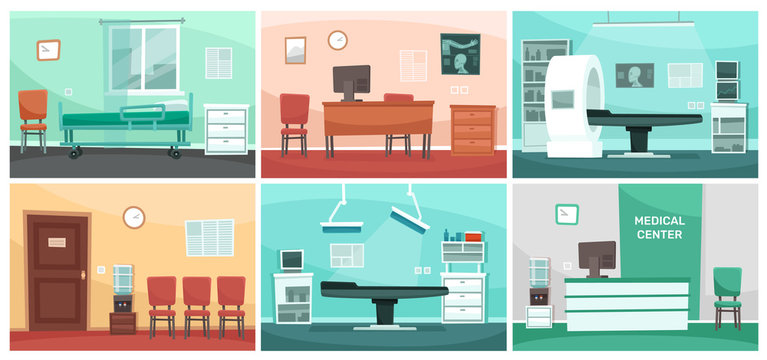 Cartoon hospital room. Medical interiors, doctor office and surgery clinic or hospitals empty waiting room interior vector illustration