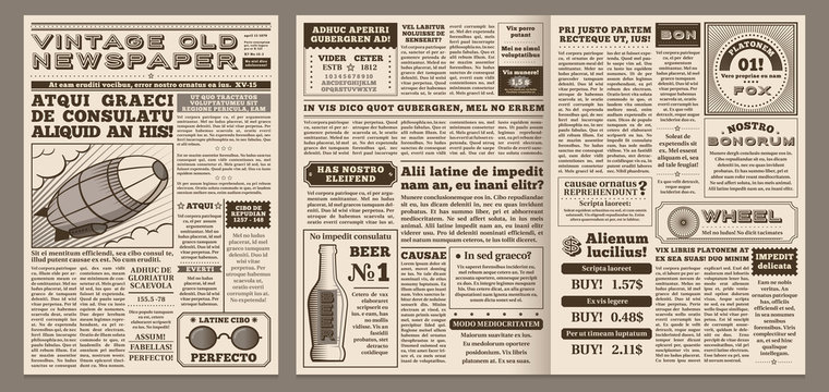 Vintage newspaper template. Retro newspapers page, old news headline and journal pages grid vector illustration layout