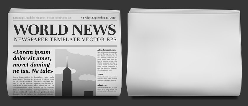 Newspaper headline mockup. Business news tabloid folded in half, financial newspapers title page and daily journal vector illustration