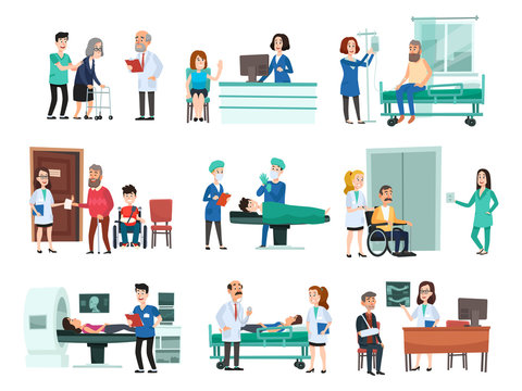 Hospital patients. Hospitalized patient on hospitals bed, nurse and doctor helping sick people isolated cartoon vector illustration