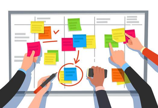 Scrum board. Task list, planning team tasks and collaboration plan flowchart. Business workflow scheme cartoon vector illustration