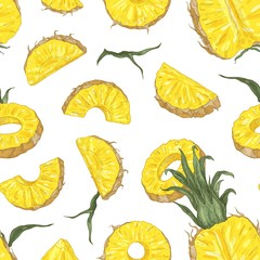 Botanical seamless pattern with ripe pineapple pieces and slices on black background. Backdrop with cut sweet tropical fruit. Elegant realistic vector illustration in antique style for textile print.