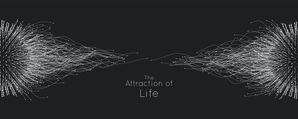 Attraction of life. Vector connecting particle tails. Small particles strive to each other. Blurred debrises into rays or lines under high speed of motion. Burst, explosion backdrop. Fotobehang