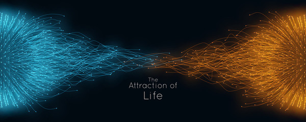 Colorful attraction of life. Vector connecting particle tails. Small particles strive to each other. Blurred debrises into rays or lines under high speed of motion. Burst, explosion backdrop. - fototapety na wymiar