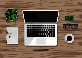 Top view of business workplace on wood desk. Flat design of workspace with laptop, notebook, cup of coffee, pot of plant, eyeglasses etc. Vector illustration
