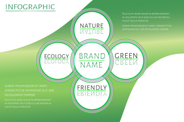 Eco brand concept, futuristic Infographic template with 5 options (steps) and place for text. Design for report, banner, workflow, business presentation. Editable vector EPS 10 illustration.