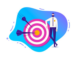 Vector business illustration, stylized character. Man standing near the target with arrows. Goal achievement