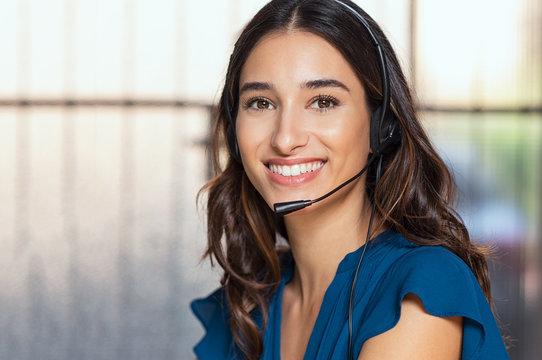 Beautiful call center consultant