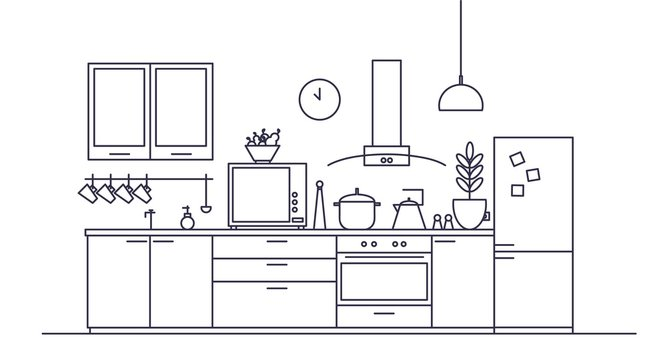 Stylish interior of kitchen full of modern furniture, household appliances, cooking facilities and home decorations drawn with contour lines on white background. Vector illustration in linear style.