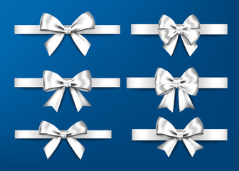 Silver  gift bows set  for  Christmas, New Year decoration.