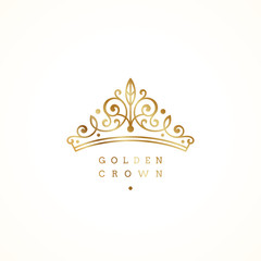 Elegant golden crown logo on white background. Vector illustration.