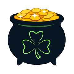 Pot of gold vector cartoon illustration. Black pot filled with sparkling golden coins, with shamrock clover sign on side. Irish, St. Patrick's Day celebration theme design element isolated on white.