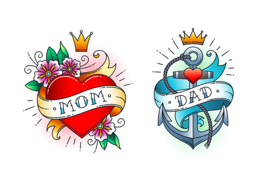 Set of Classic tattoo -  heart with flowers and word mom on ribbon. Anchor with rope and ribbon with word - dad.  Classic old school American retro tattoo. Vector illustration.