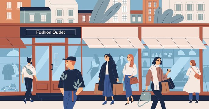 Fashion outlet, mass market apparel store, trendy clothing boutique, shopping center or mall and people, buyers or customers walking along city street. Flat cartoon colorful vector illustration.