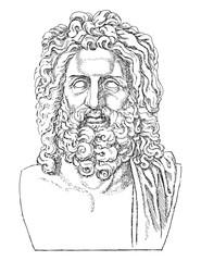 Greek sculpture head of Zeus / vintage illustration from Meyers Konversations-Lexikon 1897