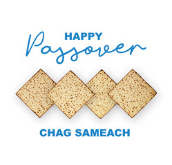 Happy Passover Jewish Holiday concept, studio image. Top view matzah isolated on white background, happy passover calligraphic text.