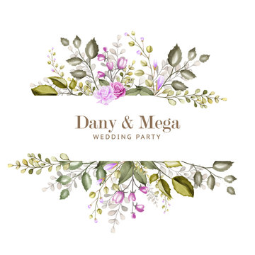 beautiful watercolor floral and leaves wedding card