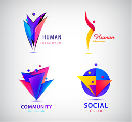 Vector set of human, man, people group logos. Teamwork, family, leader 3d origami