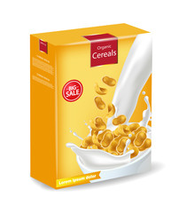 Cornflakes package isolated Vector realistic. Product placement mock up. Label design. 3d detailed illustrations