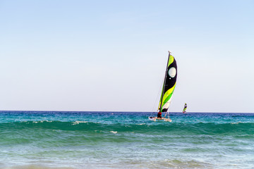 Two catamarans on Fuerteventura's coast, Jandia Peninsula, Spain
