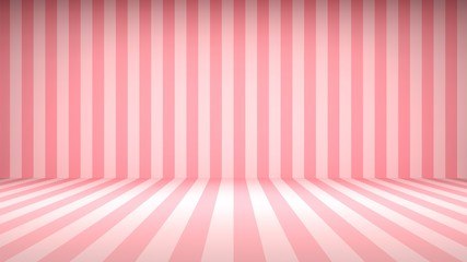 Striped candy pink studio backdrop with empty space for your content Wall mural
