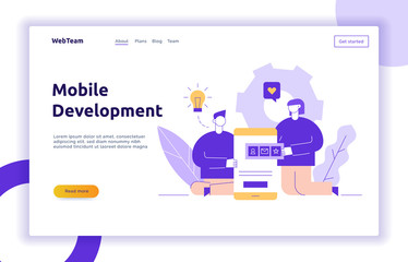 Vector mobile application or website development process with big modern flat line people illustration. Web page banner coding concept with smartphone, cog, app icons, light bulb