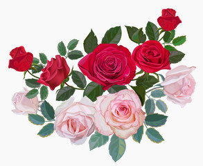 Flower bouquet with redand pink roses -vector