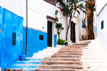 Famous blue and white streets of Kasbah of the Udayas in Rabat