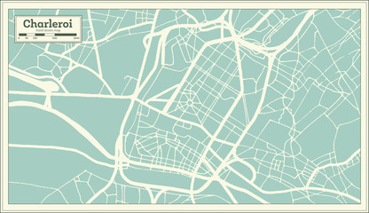 Charleroi City Map in Retro Style. Outline Map.