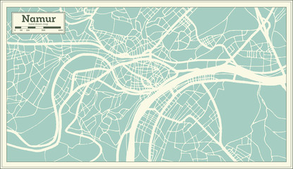 Namur City Map in Retro Style. Outline Map.