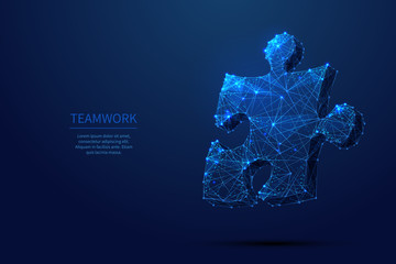 puzzle low poly blue Wall mural