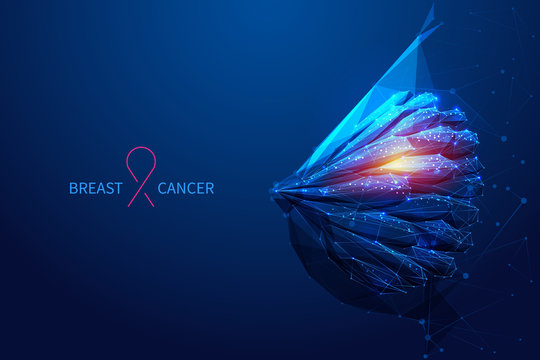 breast cancer low poly blue