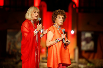 """Carol Beckwith and Angela Fisher address an audience during a gala marking the launch of their book called """"African Twilight: The Vanishing Rituals and Ceremonies of the African Continent"""" at the African Heritage House in Nairobi"""