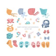 Newborn apparel vector set