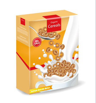 Organic rye cereals package Vector realistic mock up. Product placement label design. 3d detailed illustrations