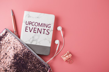 Upcoming events on pink background
