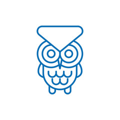 Owl line icon, outline vector sign