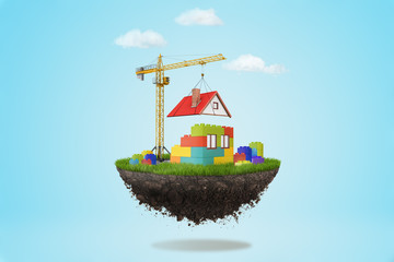 3d rendering of a building crane putting a roof on lego house on a piece of land in the air on blue sky background