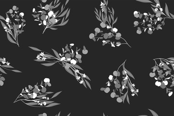 Eucalyptus Vector. Monochrome Seamless Pattern with Vector Leaves, Branches and Floral Element. Elegant Background for Rustic Wedding Design, Fabric, Textile, Dress. Eucalyptus Vector in Vintage Style