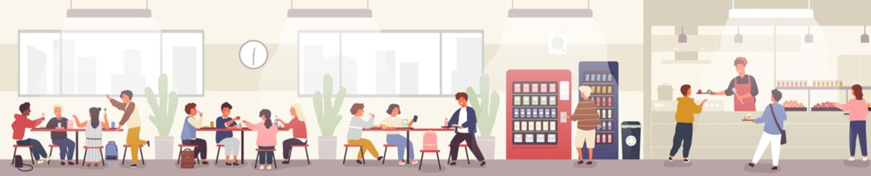 School cafeteria, canteen or dining hall with pupils carrying trays with meals, sitting at tables and eating lunch, buying snacks at vending machine. Vector illustration in flat cartoon style.