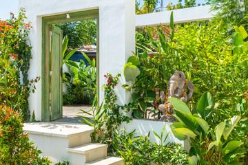 door with Ganesha statue in Bali Indonesia