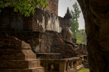 The statue Buddha of Wat Phra in Satchanalai historical park