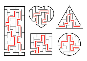 A set of mazes. Game for kids. Puzzle for children. Labyrinth conundrum. Vector illustration.