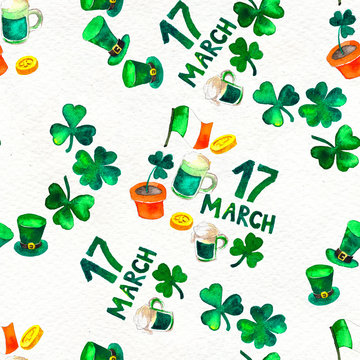 Seamless hand drawn background with St. Patrick's Day symbols