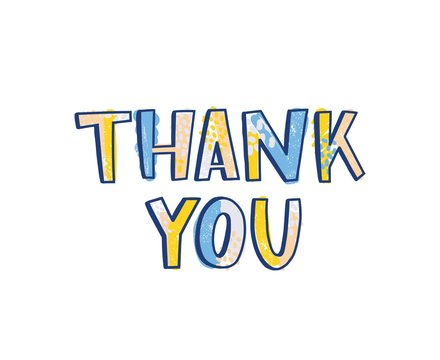 Thank You word handwritten with funky calligraphic font decorated by bright colored dots