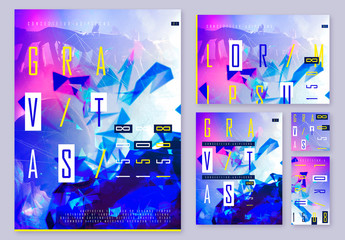 Magenta and Blue Event Poster Layout Set with Abstract Elements